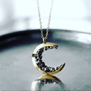 Modcloth Jewelry - ⚡2/$20🌙 Crescent Moon necklace silver tone stones